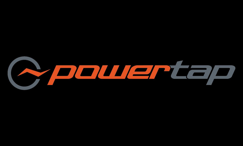 powertap_logo_horizontal_orange and grey_on black background